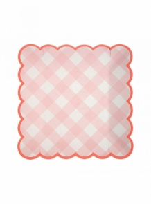 pink gingham plates small (12 st)