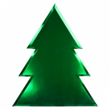 green foil christmas tree plates