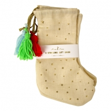christmas stockings gold stars (3 st)