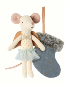 mouse angel with stocking blue