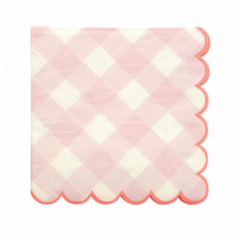 pink gingham napkins small (20 st)