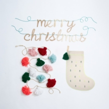 garland - merry christmas gold acrylic