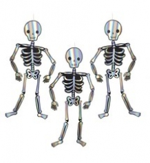 3 giant  hanging skeleton decorations