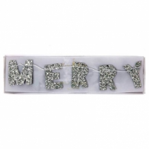 garland - silver merry christmas