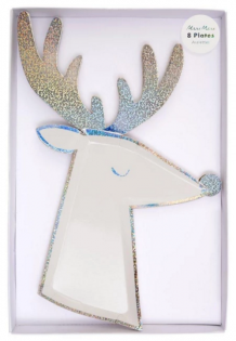 silver sparkle reindeer plates (8 st)